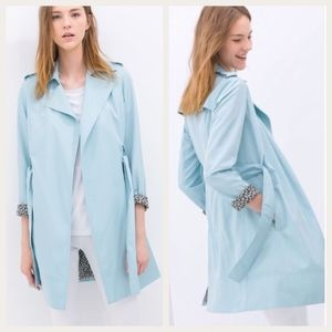Zara Basic Sky Blue Trench Coat Leopard Lining, M